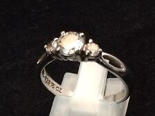 Sterling Silver - Technibond Prong-Set Cz Trio Engagement Ring 8