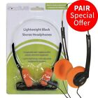 2 X Vintage Stereo Headset Ear Retro 80s Pad Walkman Headphones Pc Mp3 Sport