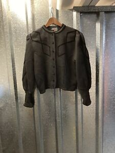 Astrifa Womens Black Round Neck Bell Sleeve Pure Wool Cardigan Jacket Size 50 EU