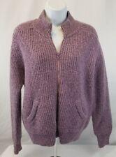 Shetlander Crazy Horse Women's Purple 100% Wool Full-Zip Cardigan Sweater