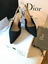 RECEIPT NEW AUTH Dior SS17 J'adior Black Ribbon Bow Slingback Kitten Heel 35 US5