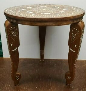 Inlaid Wood Accent Table Elephants And Camels