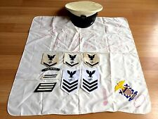 OLD VTG NAVAL NAVY USS DETROIT HAT RANK INSIGNIA PATCH SIGNED SCARF LOT OF 10