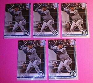 (5) 2019 Topps Update DYLAN MOORE Base Lot Mariners Rookie #US206 RC