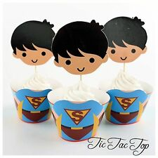 12x Superman Cupcake EXTRA LARGE Topper + Wrapper. Party Supplies Lolly Loot Bag