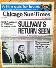 """Chicago Bears Sun Times Feb 13 86' """"Sweetness Refrigerator Wrap It All Up"""""""