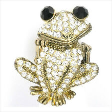 Smart Frog Froggy Animal Pet Cocktail Ring Costume Jewelry Crystal Clear New 191