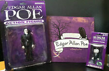 Lot of TWO Accoutrements Edgar Allan Poe Lil Edgar Action Figures plus Book NIB!