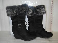 XOXO New Womens Olivia Black Wedge Boots 9 M Shoes NWB