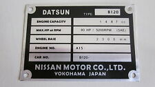 Datsun 1200 UTE B120 A12 A14 A15 CA18 SR20 12A 4AGE chassis plate ID tag blank