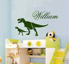 CUSTOMISE Name & 2 T-rex Dinosaurs Wall Sticker Great Gift for Someone Special