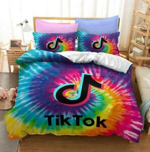 Tik Tok Rainbow Rendering Single Quilt Covers Pillowcase Super King Size Bedding