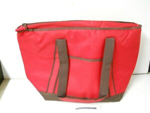 Lock & Lock Large Collapsible Insulated Cooler Bag Tote Picnic Travel Red