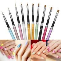 Set 10 Pcs Nail Art Dessin Stylo Ongle Pinceau Brosse Peinture Gel UV Manucure