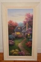 "C.Jaffey Cottage in Autumn Painting (Oil on Canvas) (18"" x 30"")"