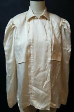 Ivory Beige Shirt Size 14 100% Silk Asymmetrical Snap Front Inverted Pleat Back