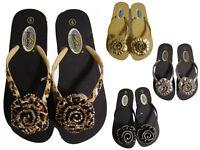 Silver Black Gold Leopard Flower Floral Rhinestone Flip Flops Thongs Sandals