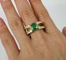 RARE Estate 2.0ct Natural Tsavorite Garnet 0.75ct Diamond Plat & 18K Gold Ring