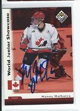 Manny Malhotra Signed 1998/99 UD Choice Card #255