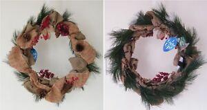 Light Up Christmas Wreath Burlap Jute Ribbon Berries Pine Cones