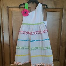 NWT RARE EDITIONS WHITE A LINE SHOULDER SLEEVELESS SEERSUCKER TIERED DRESS SZ 5