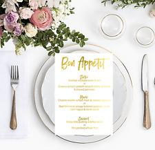 Gold Foil Wedding Menu / Personalised Reception Dinner Menu's / Bon Appetit Sign