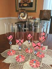 Decorative Pink and Green Champagne Flutes