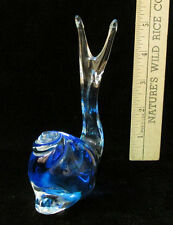 Glass Snail Figurine Paper Weight Cobalt Blue & Clear
