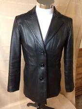 Womens Small Worthington Leather Jacket Dressy Black 3 Button S Red liner