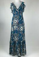 Xhilaration Women Blue Green Floral Paisley Boho Maxi Sun Dress sz XS