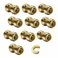 "10 PCS  1/2"" X 1/2"" SHARKBITE STYLE PUSH FIT COUPLINGS-Free Clip Tool,Lead Free"