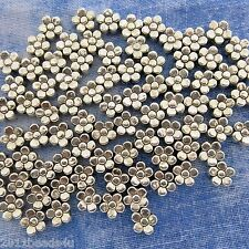 Antique Silver Alloy Metal Flower Beads 36 Pieces 5.6mm  #387