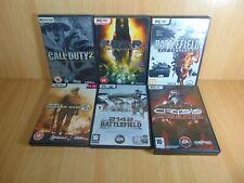 6 PC Games Crysis Call of Duty 2 Battlefield 2142 Fear Modern Warfare 2...