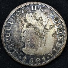 COLOMBIA 8 REALES 1821  JF  ** CUNDINAMARCA**   SILVER KM # C6  RARE.#3