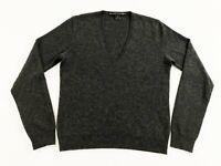 Ralph Lauren Black Label Womens 100% Cashmere V Neck Pullover Sweater Gray Sz M