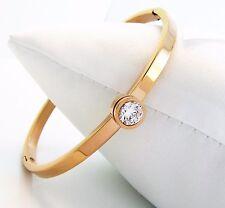 Damen Armspange Edelstahl Rose-Gold Rotgold vergoldet Zirkonia Armband Armreif