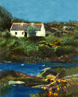 "English Garden Cottage 8""x10"" Limited Edition Oil Painting Print Signed Arts"