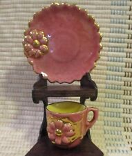 Vintage Miniature CUP & SAUCER by ROZART Pink Figural Stylized Flower GOLD TRIM