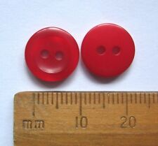10 x Rich Red Buttons 11mm round plastic knitting sewing card making 2 holes