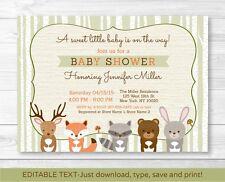 Woodland Animals Fox Deer Bear Neutral Baby Shower Invitation Editable PDF
