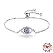 925 Sterling Silver Cubic Zirconia CZ Evil Eye Turkish Greek Mati Nazar Bracelet