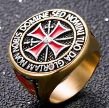 Edelstahl Templer Siegel-Ring Herren Zirkon  Gold Freimaurer Ritter Kreuz