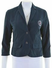 HOLLISTER Womens 2 Button Blazer Jacket Size 12 Medium Navy Blue Cotton  KZ20