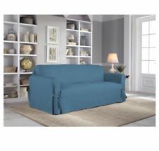 Serta Relaxed Fit Duck Furniture Cotton Cushion Loveseat Slipcover Indigo Blue