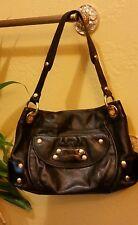 B. Makowsky Black Genuine Leather Hobo Shoulder Bag Handbag Purse Tote