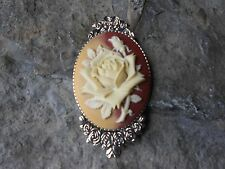 FALL - AUTUMN ROSE CAMEO BROOCH- PIN- (CARAMEL, GOLD, BROWN - FLORAL, ROSE BUD
