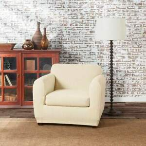 NEW sure fit Stretch Tribal Chair Slipcover protector off white ivory cream 1