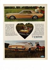 VINTAGE 1967 FORD MUSTANG CONVERTIBLE FASTBACK HORSE AUTO CAR AD PRINT #B713