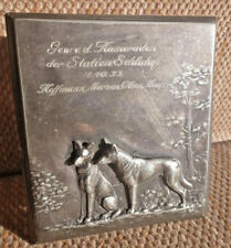WMF CIGARETTE OR TRINKET BOX GLASS & PEWTER W/ DOGS 1906 ORIGINAL