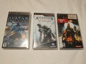 PSP Games Lot Bundle of three - Avatar, Assassins Creed, Hellboy